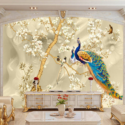 Custom Mural Wallpaper 3d Stereo Magnolia Flowers Peacock Wall Painting Living Room Tv Sofa Background Wall Papers For Walls 3 D