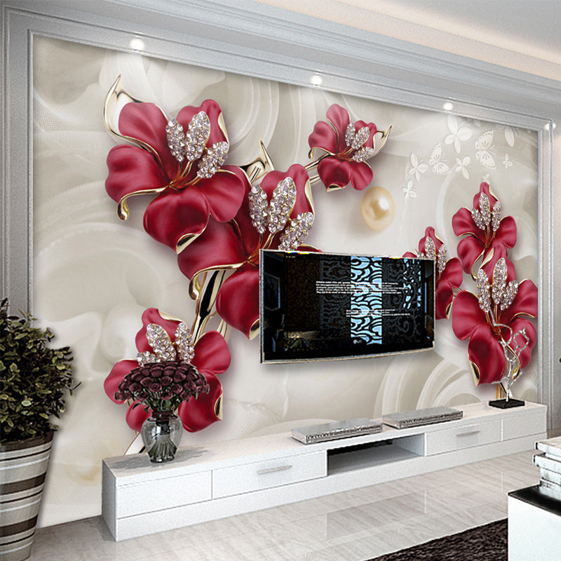 Custom Mural Wallpaper 3d Stereo Relief Flowers Jewelry Photo Wall