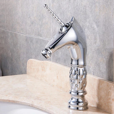 Free Shipping Golden Unicorn Faucets Bathroom Crystal Body Icorne Basin  Mixer Tap Noble Gorgeous Swivel Basin Sink Faucet