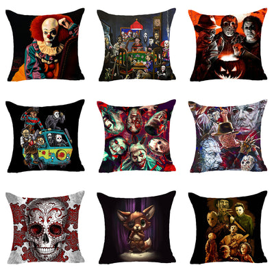 Cojines Tiger.Hyha America Horror Story Polyester Cushion Cover For Sofa Skull Chucky Saw Undead Festival Decorative Pillow Cover Cojines