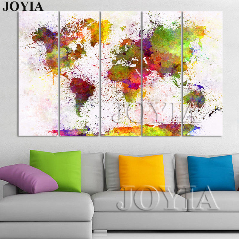 Large World Map Watercolor Canvas Painting Set Maps Canvas Wall ...