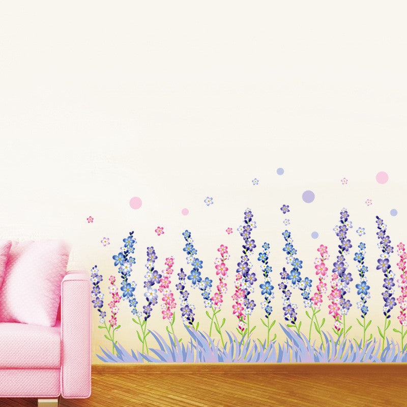 Lavender Cong Pvc Skirting Wall Sticker Decorated Living Room Bedroom Art Diy Wall Decals Kids Rooms Background