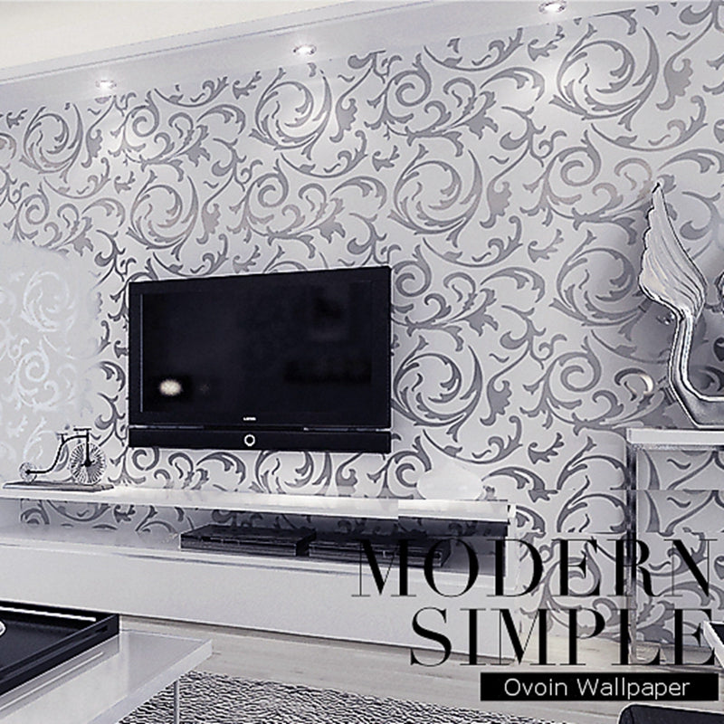 Leaves Pattern Luxury Grey Textured Wallpaper Modern Gray Vinyl Wall Paper Roll Living Room Bedroom Background Home Decoration