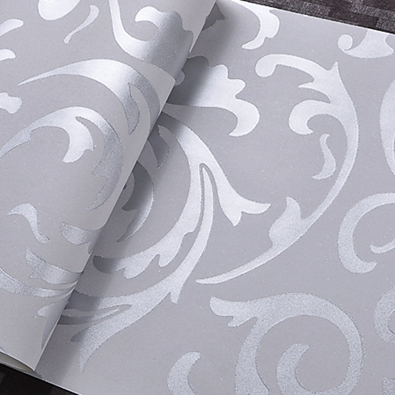 . Leaves Pattern Luxury Grey Textured Wallpaper Modern Gray Vinyl Wall Paper  Roll Living room Bedroom Background Home Decoration