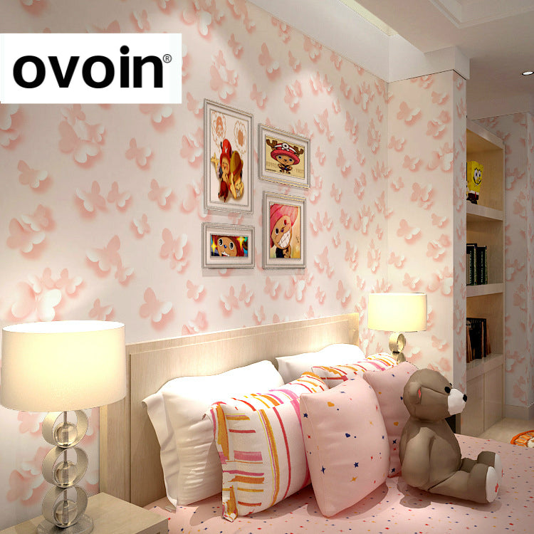 Modern Child 3D Butterfly Wallpaper Roll For Walls Girls Bedroom Home Decor  Baby Room Pink Children Wall Paper