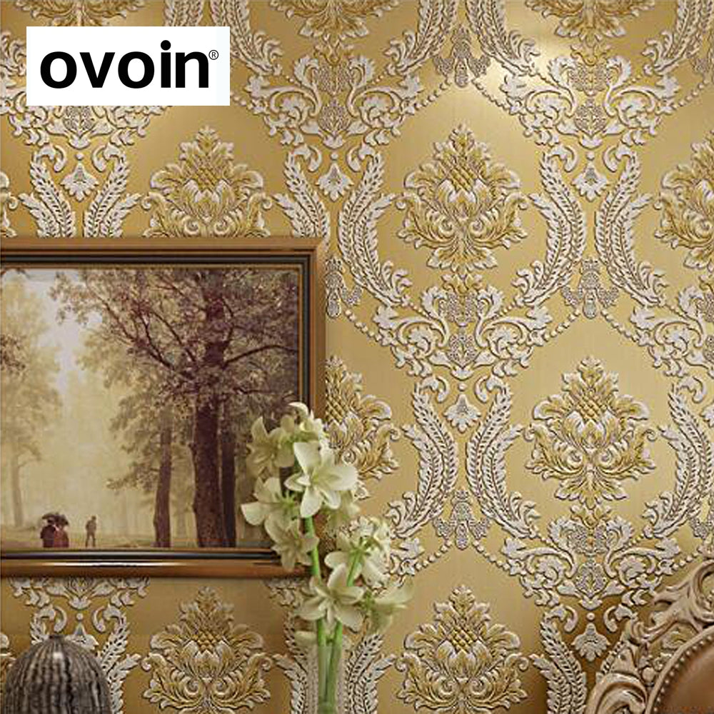 Modern Classic Luxury 3d Embossed Floral Damask Wallpaper Flocked