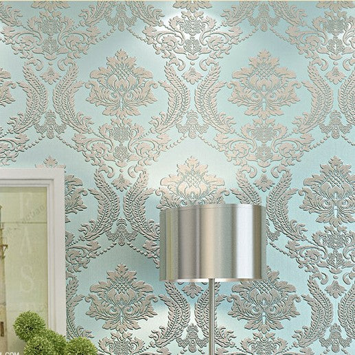 Modern Classic Luxury 3d Embossed Floral Damask Wallpaper Flocked Non Woven Wall Paper For Bedroom Living Room Tv Background