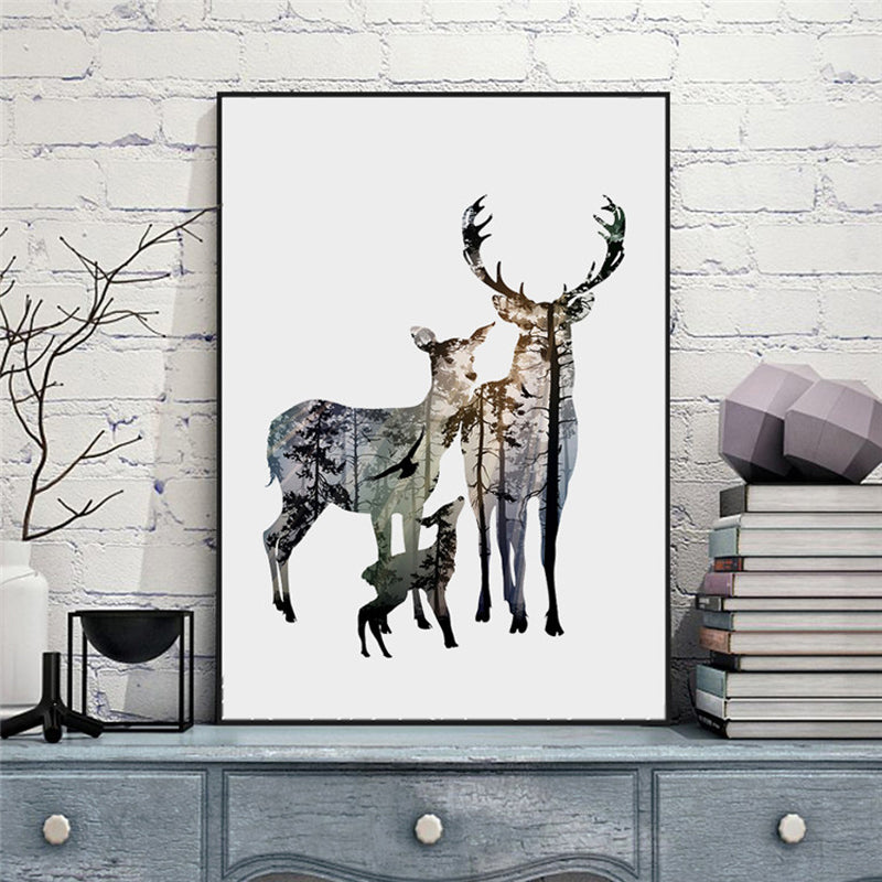 Red Deer Silhouette Forest 5 panel canvas Wall Art Home Decor Poster Print