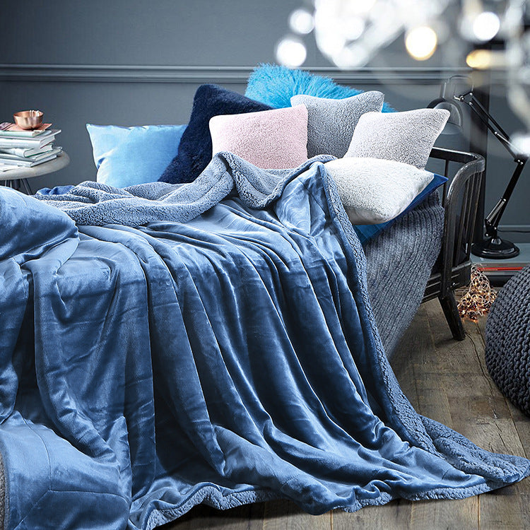 6b28e3df4a Warm Soft Fleece Blankets Double Layer Thick Plush Throw on Sofa Bed Plane  Plaids Solid Bedspreads Home Textile 1PC