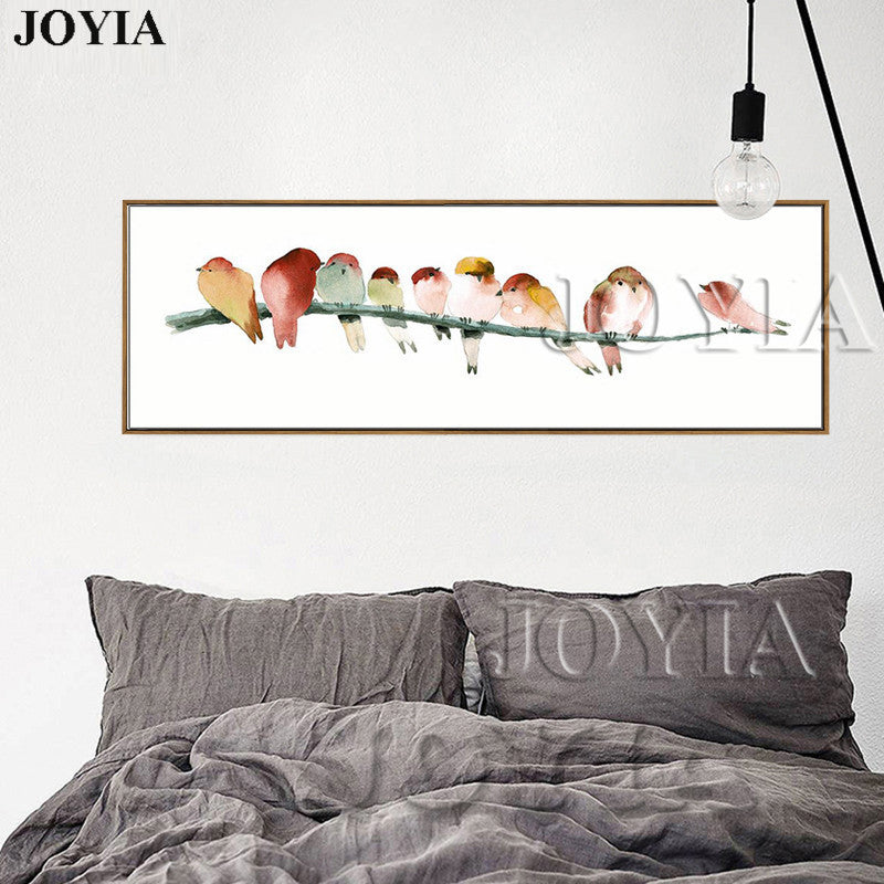 Watercolor Birds Art Prints Rectangle Canvas Bird Wall Painting Minimalism Home Bedside Decor Color Birds Paintings No Frame
