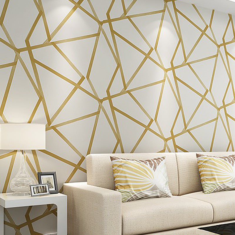 White Teal Beige Gold Geometric Wallpaper Modern Glitter Metallic Wall Paper Luxury For Bedroom Living Room Large Triangle Roll