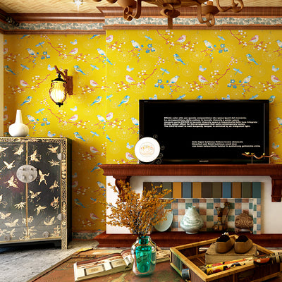 Yellow Bluecream White Rustic Branch Bird Wallpaper Nature Chinese Wallpapers Wall Paper Home Decor Ideas For Bedroom