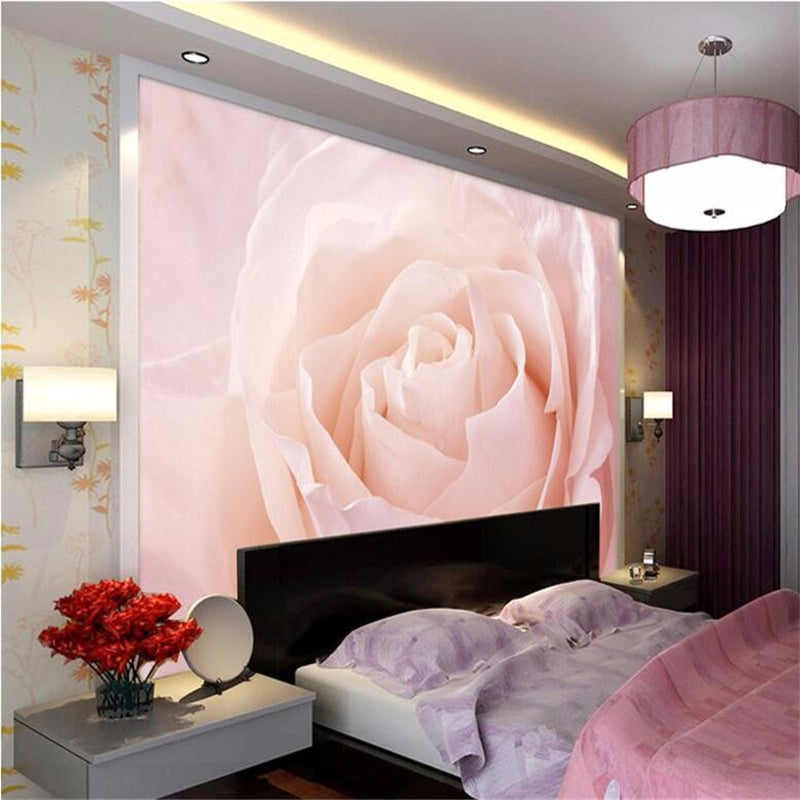 Beibehang Custom Photo Wallpaper Stereo Large Pink Roses Artistic Living Room Sofa Bedroom Mural Wall Papers Home Decor Flooring