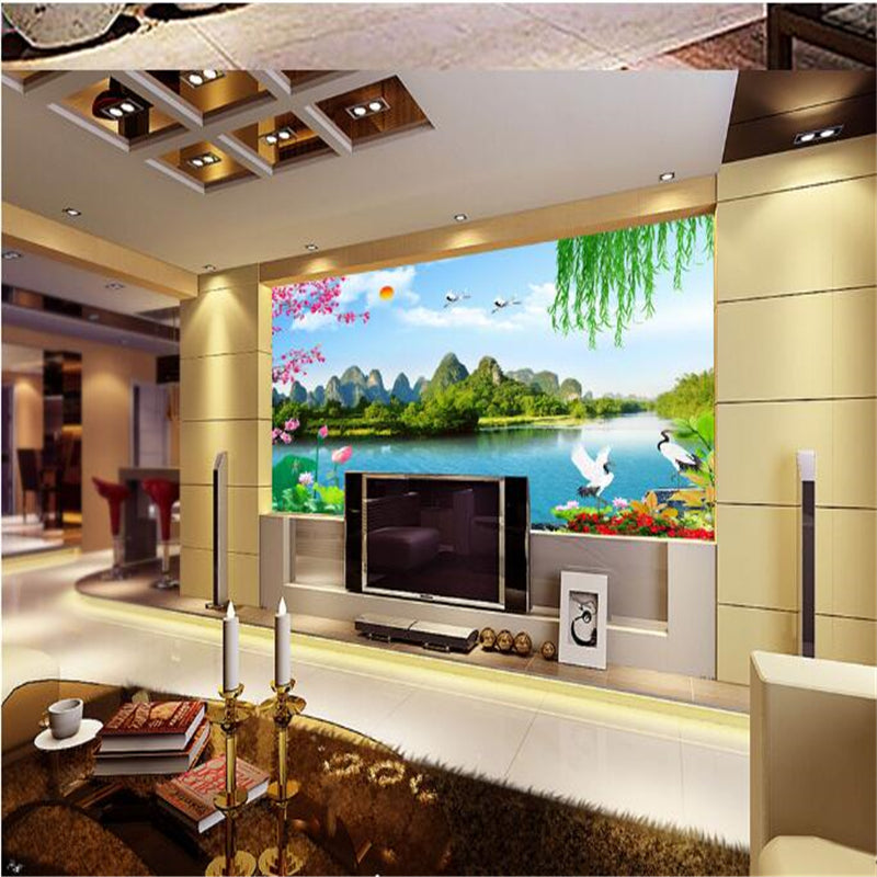 Beibehang Fashion Papel De Parede Hd Wallpaper Clear Landscapes Bedroom Living Room Background Painting 3d Wallpaper Wall Paper