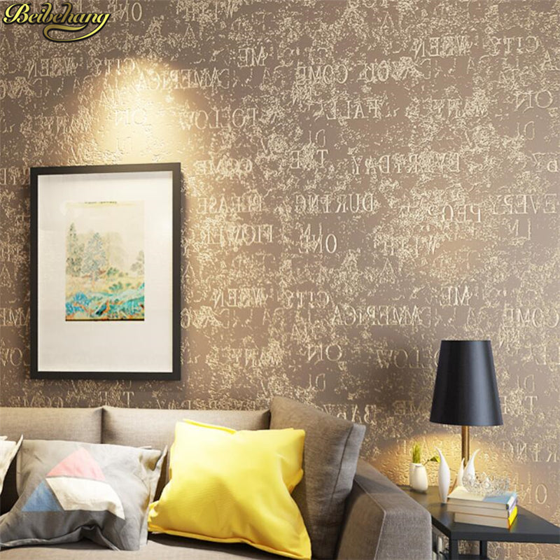 beibehang Modern Simple Wallpaper Bedroom Study Wallpaper Paper English  Letter Wall paper Black papel de parede