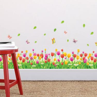 flower green grass butterfly baseboard wall stickers skirting living