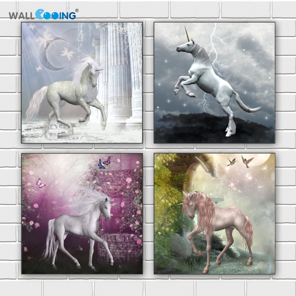 4 Panels Colorful Horse Canvas Painting Unicorn Art Modular Pictures