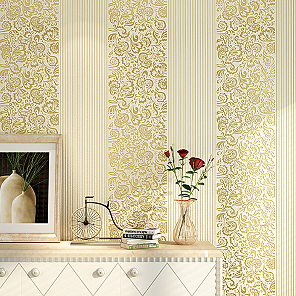 Beige Yellow Embossed Texture Floral Striped Wallpaper Roll For