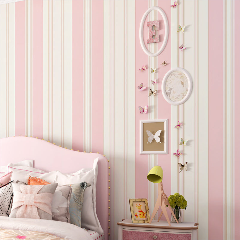 Paysota Children Room Wallpaper Bedroom Romantic Pink Princess Room Environmental Non Woven Stripe Wall Paper Roll