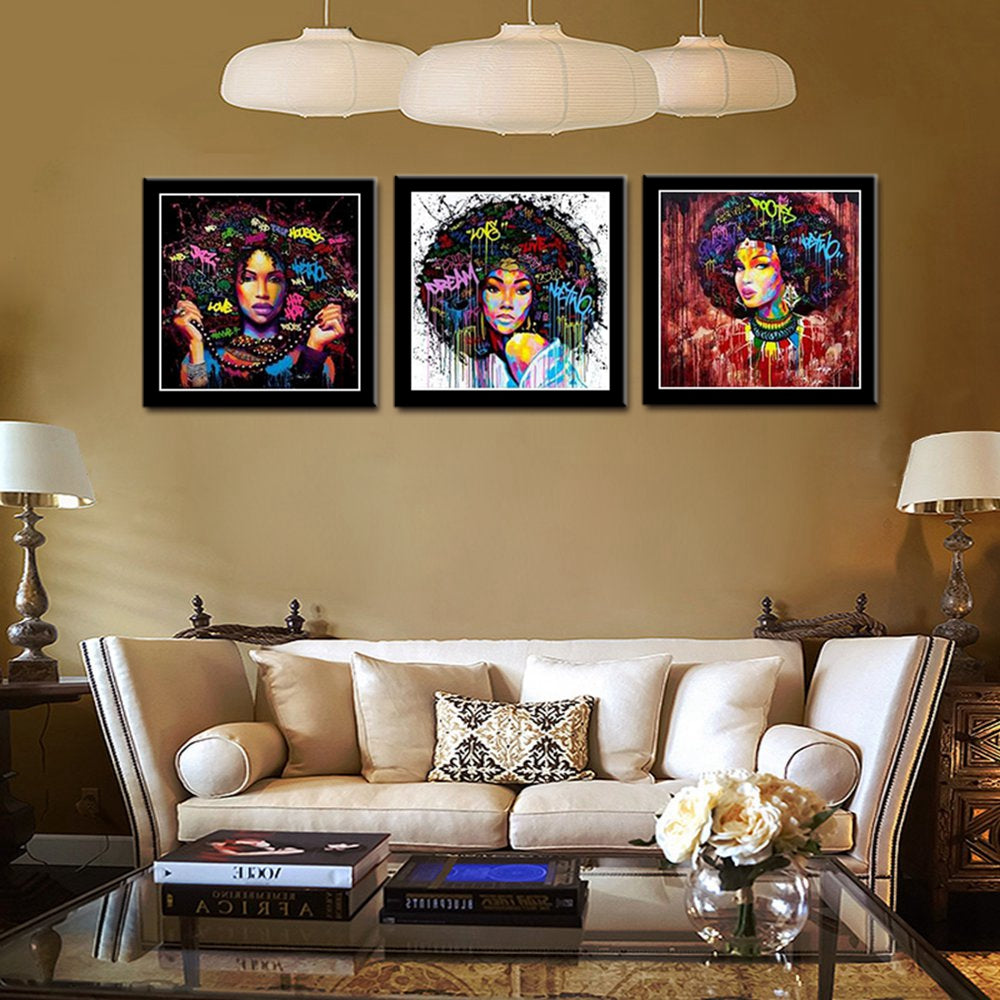 African American Black Art Canvas Wall Art Abstract Portrait Afro Women Poster Canvas Painting For Room Wall Decor Drop Shipping