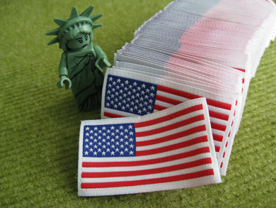 50pcs High Quality Damask USA Flag Woven Label