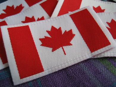 50pcs High Quality Damask Canada Flag Woven Label