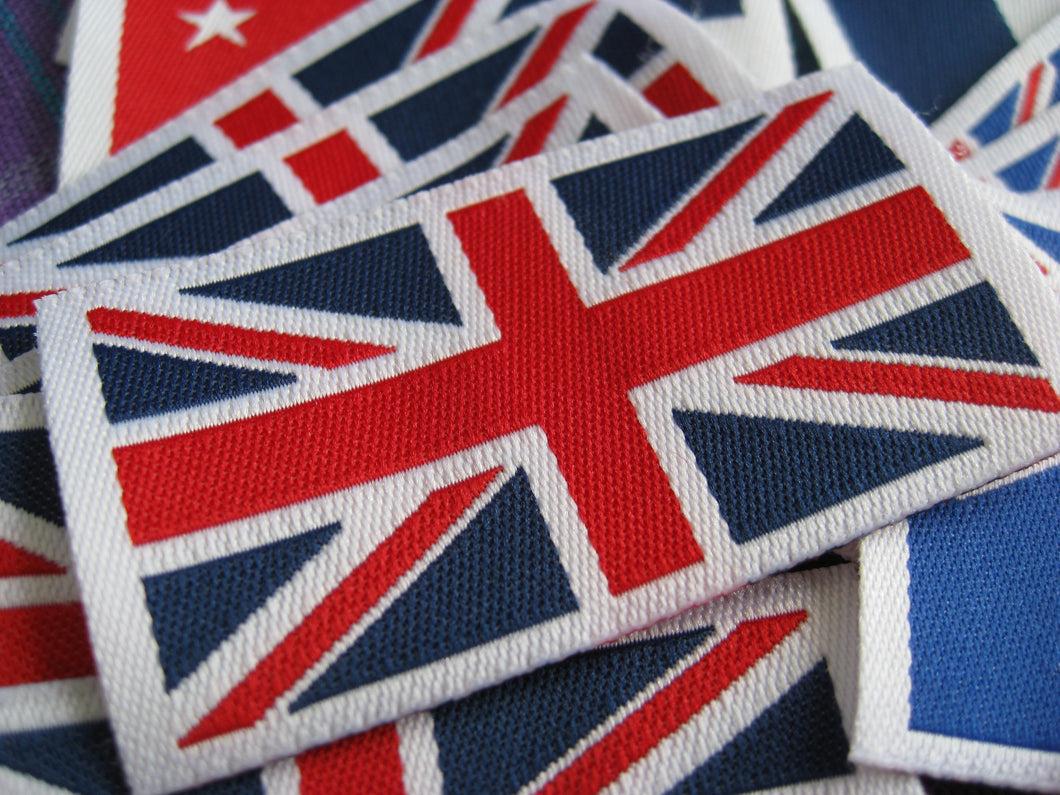 50pcs High Quality Damask United Kingdom Flag Woven Label