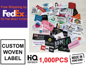 Custom Woven Labels Damask Quality 1,000pcs Free Fedex Express Shipping