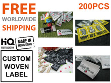 Custom Woven Labels (Artwork) Damask Quality 200pcs *Free Worldwide Shipping*