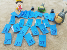 Woven Size Label / Mixed Lot of 100pcs / Light blue with Navy *Free Worldwide Shipping*