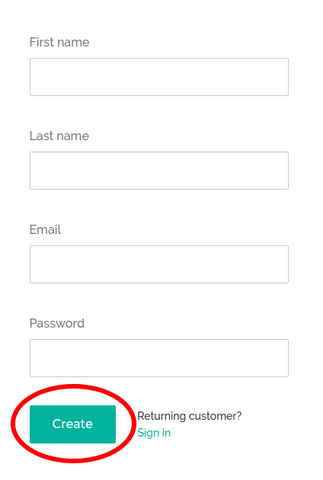 Create account signup form