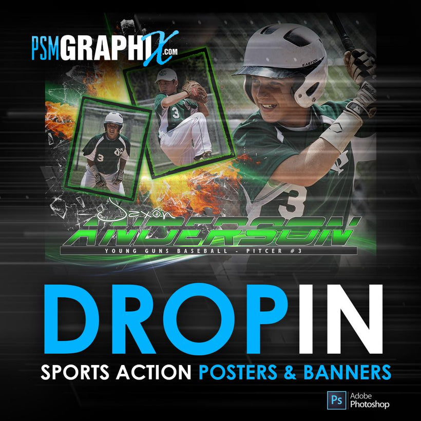 Action Drop-In Poster Photoshop Templates