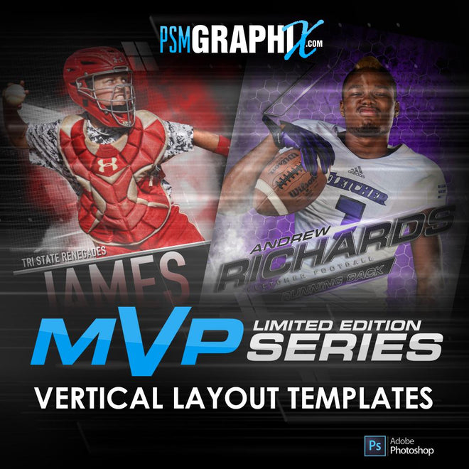 MVP Series - Sports Photoshop Templates - Vertical Designs