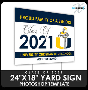 "Class of 2020 - School Logo 24""x18"" Yard Sign Template-Photoshop Template - PSMGraphix"