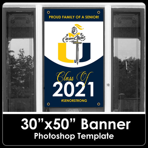 "Class of 2021 - School Logo Sign - 30""x50"" Banner Template-Photoshop Template - PSMGraphix"