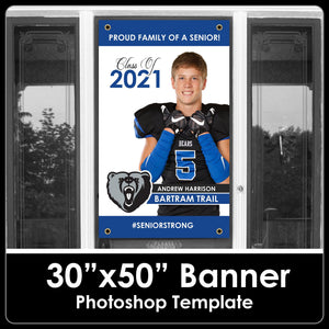 "Class of 2021 - Photo - 30""x50"" Banner Template-Photoshop Template - PSMGraphix"