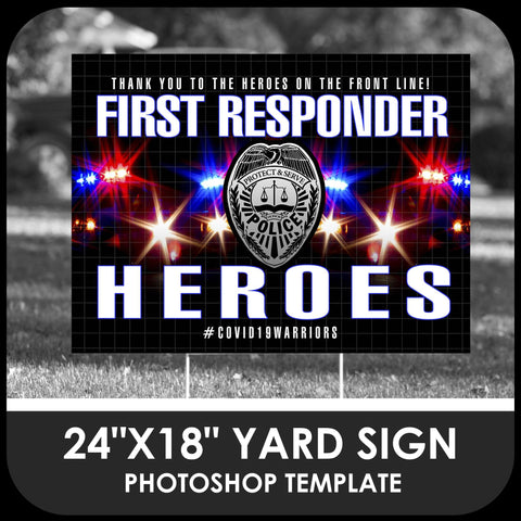 "Police ""Warrior"" 24x18 Yard Sign Template-Photoshop Template - PSMGraphix"