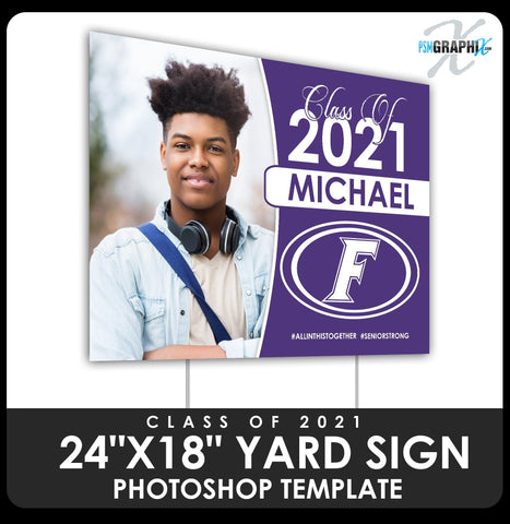 "Class of 2020 - Cap & Gown 24""x18"" Yard Sign Template-Photoshop Template - PSMGraphix"