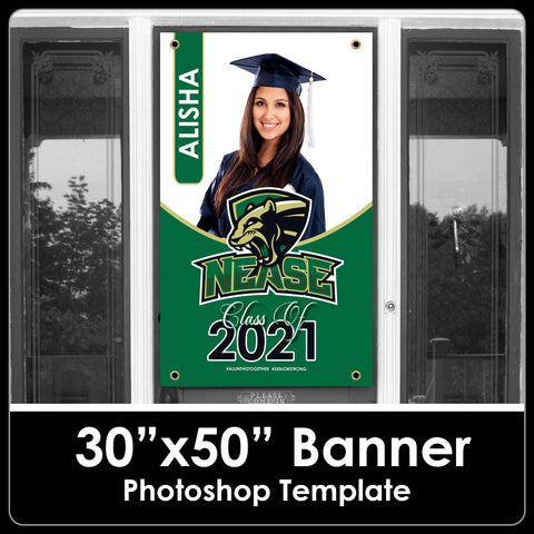 "Class of 2021 - Photo 2 - 30""x50"" Banner Template-Photoshop Template - PSMGraphix"
