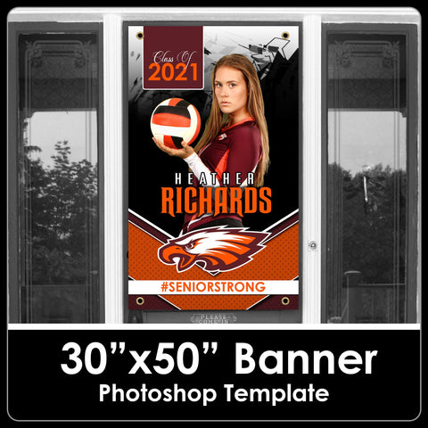 "Class of 2021 - Breaker - 30""x50"" Banner Template-Photoshop Template - PSMGraphix"
