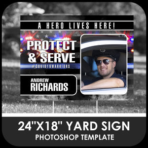 "Police ""Warrior"" Photo Drop In 24x18 Yard Sign Template-Photoshop Template - PSMGraphix"