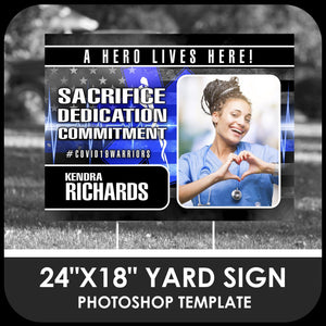 "Healthcare ""Warrior"" Photo Drop In 24x18 Yard Sign Template-Photoshop Template - PSMGraphix"