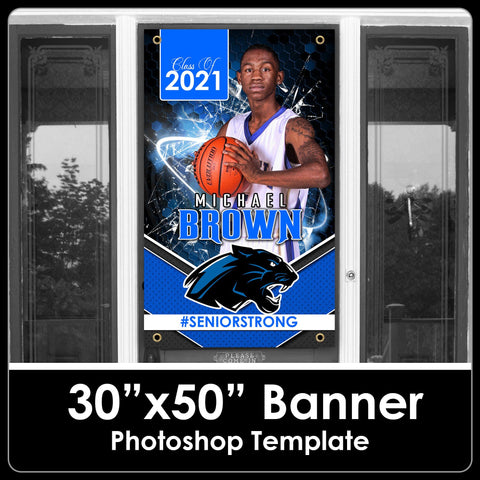"Class of 2021 - Honeycomb - 30""x50"" Banner Template-Photoshop Template - PSMGraphix"