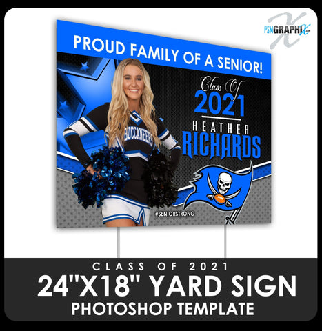 "Class of 2020 - Xtreme - Stars 24""x18"" Yard Sign Template-Photoshop Template - PSMGraphix"