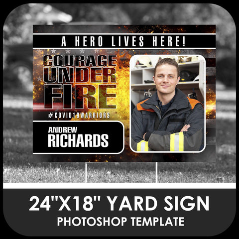 "Firefighter ""Warrior"" Photo Drop In 24x18 Yard Sign Template-Photoshop Template - PSMGraphix"