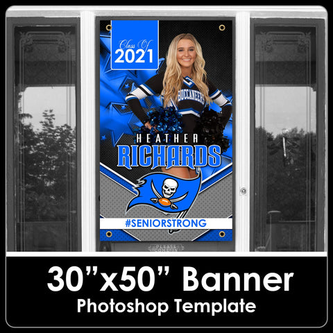"Class of 2021 - Stars - 30""x50"" Banner Template-Photoshop Template - PSMGraphix"