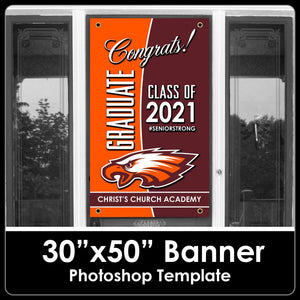 "Class of 2021 - Congrats - 30""x50"" Banner Template-Photoshop Template - PSMGraphix"