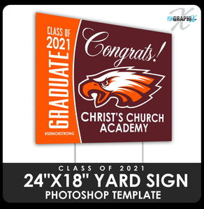 "Class of 2020 - Congrats 24""x18"" Yard Sign Template-Photoshop Template - PSMGraphix"
