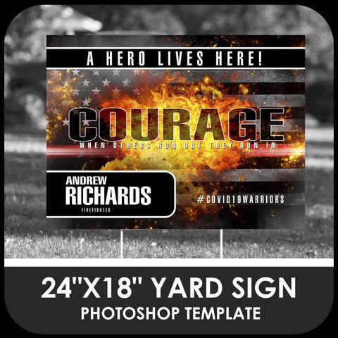 "Firefighter ""Warrior"" 24x18 Yard Sign Template-Photoshop Template - PSMGraphix"