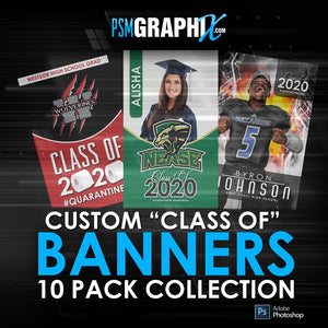 "Class of 2020 - 10 PACK COLLECTION - 30""x50"" Banner Templates-Photoshop Template - PSMGraphix"